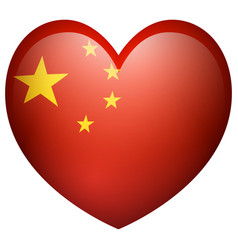 China flag in heart shape vector