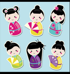 Cute kawaii kokeshi dolls stickers set vector