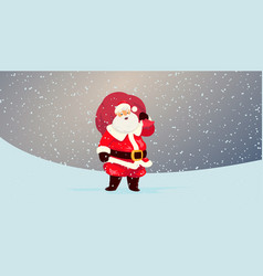 Cute santa claus with a bag full of gifts vector