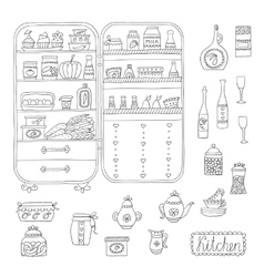 Doodle refrigerator with food drawn by hand vector image vector image