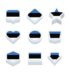 estonia flags icons and button set nine styles vector image vector image