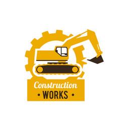 Excavator logo construction site special vector