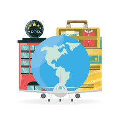 Hotel with global map and bags vector