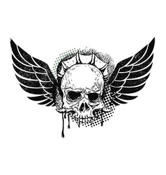 monster skull with wings vector image vector image