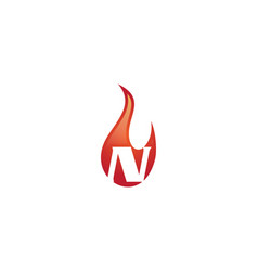 n letter flame logo vector image vector image