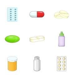 Pharmacy and drug symbols icons set cartoon style vector