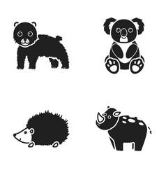 rhino koala panther hedgehoganimal set vector image vector image