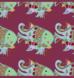 seamless pattern purple neutral and blue fish vector image