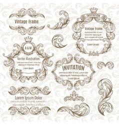 set frame and vintage design elements vector image vector image