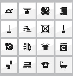 Set of 16 editable cleanup icons includes symbols vector