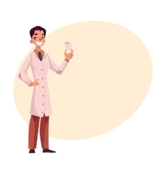 Smiling male dentist doctor in lab coat holding vector