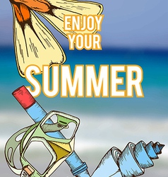 summer retro hand drawn design card vector image