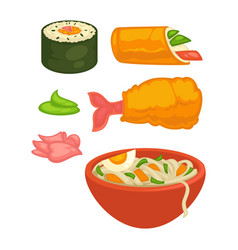 Sushi rolls and japanese cuisine food snacks vector