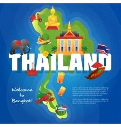 Thailand cultural symbols flat map poster vector