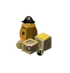 Treasure And Bombs Toy Icon vector image