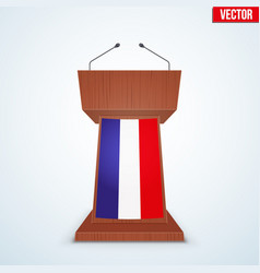 wooden podium tribune with french flag vector image vector image