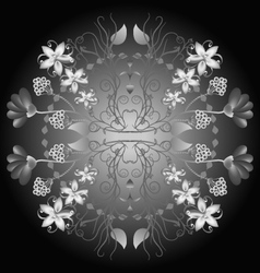 -circular floral ornament in folk style gray scal vector