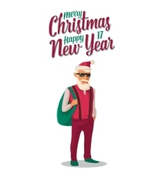 Santa claus dressed in a trendy hipster style vector