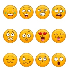 Set with cartoon smiley face vector