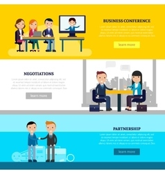 Business collaboration horizontal banners vector
