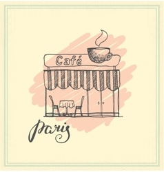 French Street Cafe Hand drawn vector image