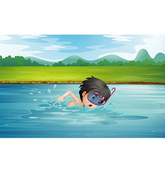 A boy enjoying the cold water of the river vector