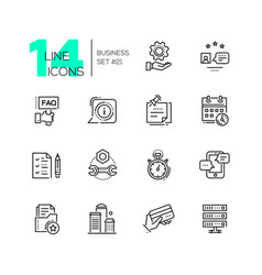 Business - monochromatic modern single line icons vector