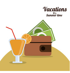 Vacations summer time - wallet money cocktail vector