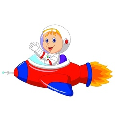 Cartoon boy astronaut in the spaceship vector