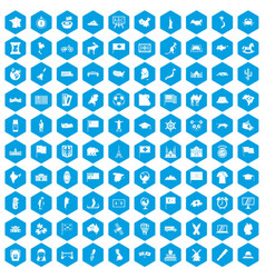 100 geography icons set blue vector