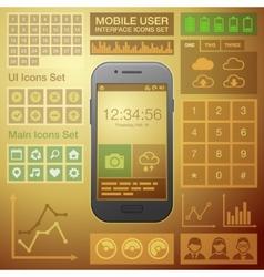 Flat Mobile UI User Interface Design Elements Kit vector image