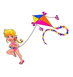 Happy girl is playing with kite vector