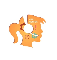 Call center operator with headset icon vector