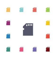 Memory card flat icons set vector