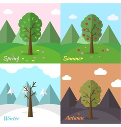 Season icon set of nature tree background vector