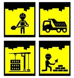 Set construction yellow icons set vector