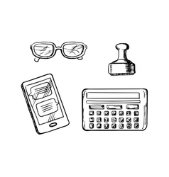 Business icons and symbols sketches vector