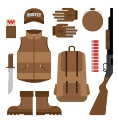 Set of hunting objects design elements vector