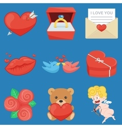 Set of vintage happy valentines day icons vector