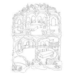 Colouring page of mermaid house vector
