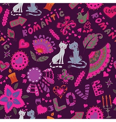 Abstract Romantic Background with Cats vector image vector image