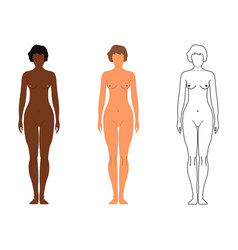 African and european women cartoon outline style vector