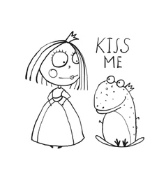 Baby Princess and Frog Asking for Kiss Coloring vector image vector image