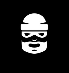 Black and white picture of a bearded thief in a vector
