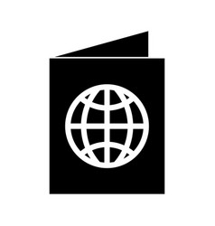 black icon passport cartoon vector image
