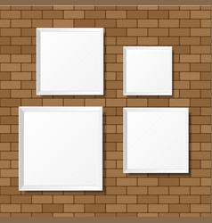 Blank white posters on the brick wall blank vector