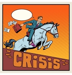 Businessman on a horse jumping barrier crisis vector