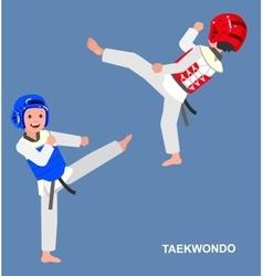 Cartoon kid wearing kimono martial art vector