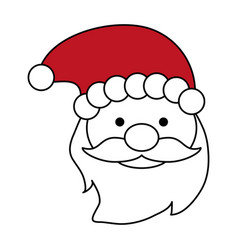 Color silhouette image of front face santa claus vector