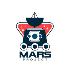 Colored logo with mars exploration rover vector